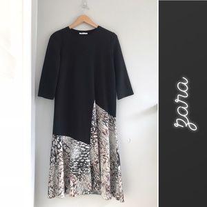 Zara Animal Print Asymmetrical Long Sleeve Dress